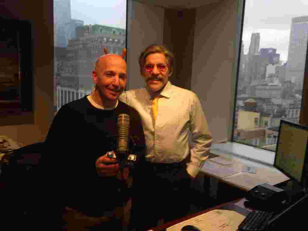 Geraldo with sidekick Noam Laden in the 77 WABC radio studio, high above Madison Square Garden, NYC.