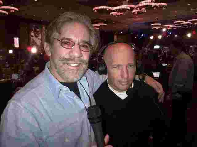 Geraldo broadcasts live with sidekick Noam Laden from the Sheraton Hotel.