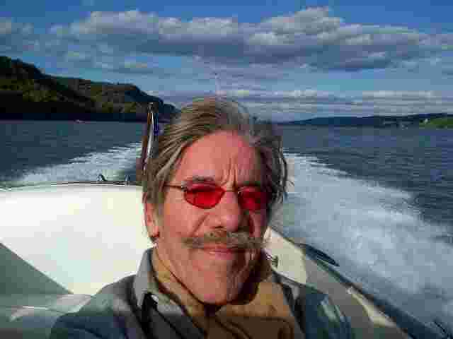 Geraldo on brother Craig Rivera's boat as they cruise down the Hudson river.