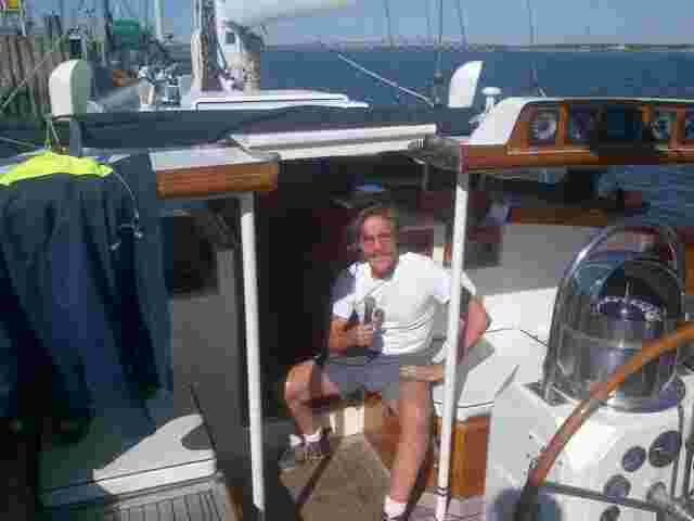 Geraldo broadcasting his 77 WABC radio show live from aboard sailing vessel Voyager, in Shinnecock Inlet ME.