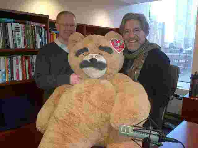 Geraldo with Ryan Jennings and the Geraldo Vermont Teddy bear at 77 WABC radio studios, NYC.