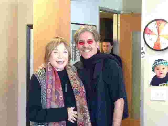 Geraldo in his 77 WABC radio studios about to interview Shirley MacLaine.