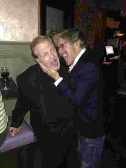 Geraldo with author Mike Walker during an event, Out For Blood