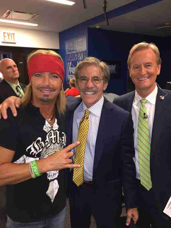 Geraldo, Bret Michaels and Steve Doocy pause for a pose at Fox News studios in NYC.