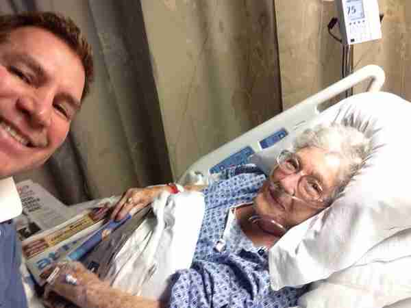 Geraldo's brother and fellow correspondent Craig Rivera with their mom Lillian, as she recovers in the hospital.