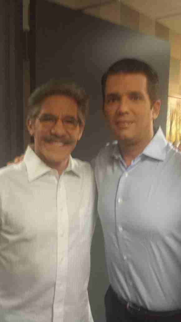 Geraldo and Donald Trump Junior pose for a photo during Celebrity Apprentice