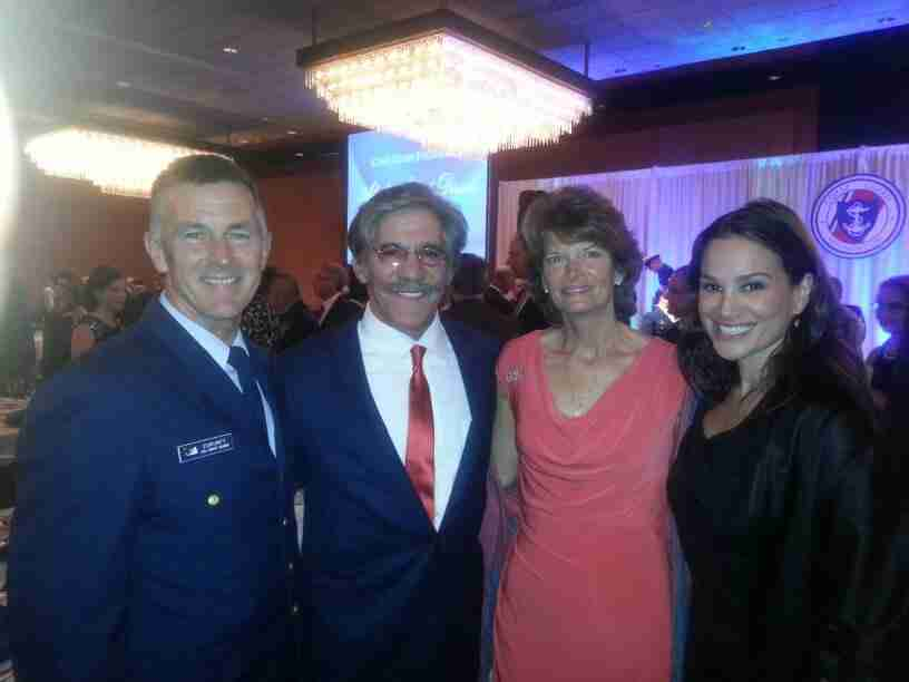 Geraldo, wife Erica, with USCG Admiral Paul Zukunft and Senator Lisa Murkowski (R) of Alaska.  Taken during a fundraising event for the USCG.