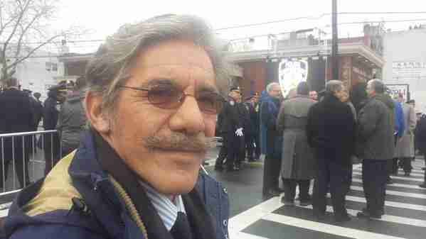 Geraldo paying his respects at the funeral for Officer Wenjian Liu, who was slain on duty for the NYPD.