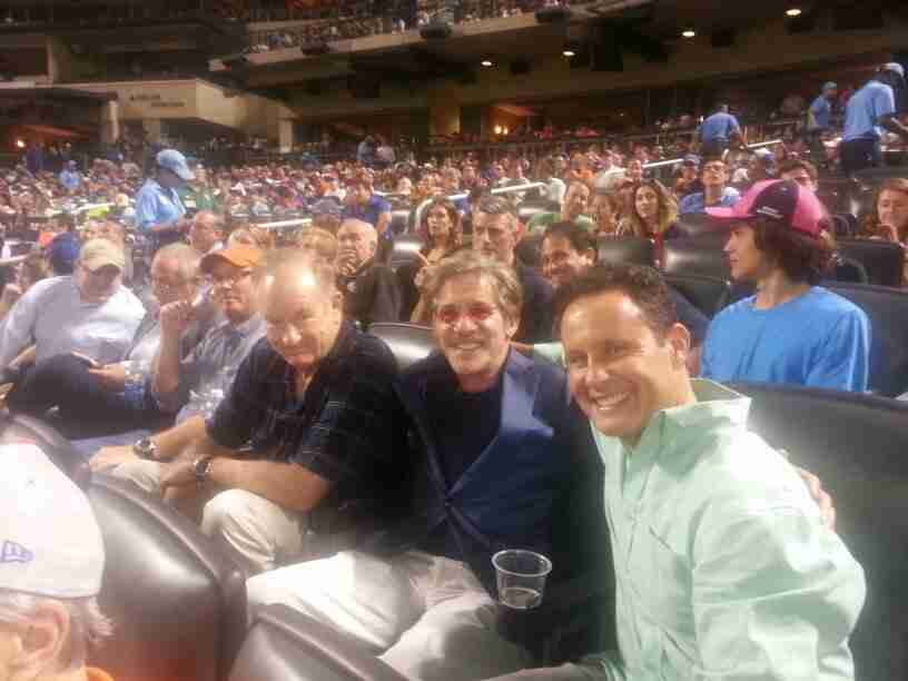 Geraldo with Fox News Hosts and personalities Bill O'Reilly, Brian Kilmeade, sharing some time at the game.