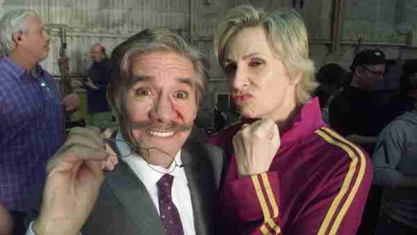 Geraldo with Jane Marie Lynch during shooting for the finale of Glee.