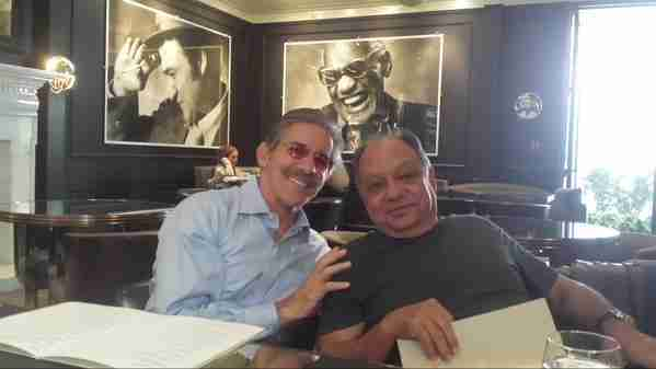 Geraldo with longtime friend Cheech Marin while they watch the football game in Bel-Air.