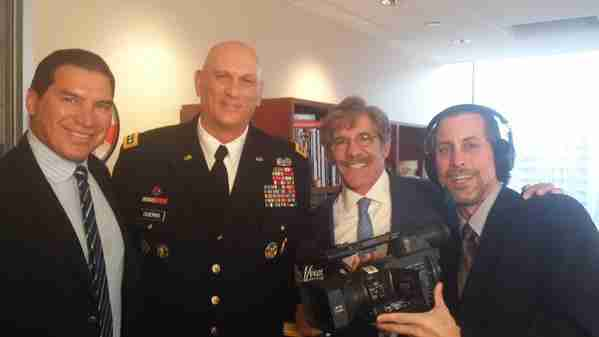 Geraldo, brother and correspondent Craig Rivera, producer Greg Hart with General Ray Odierno during an interview at Geraldo's WABC studio in NYC.
