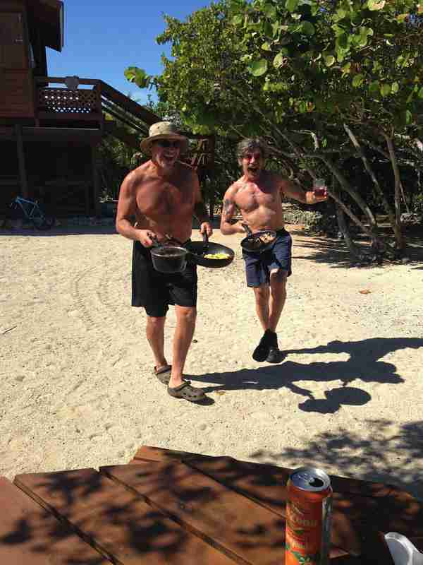 Geraldo and brother Craig get excited for some Rice and Beans on island near Salinas, Puerto Rico.