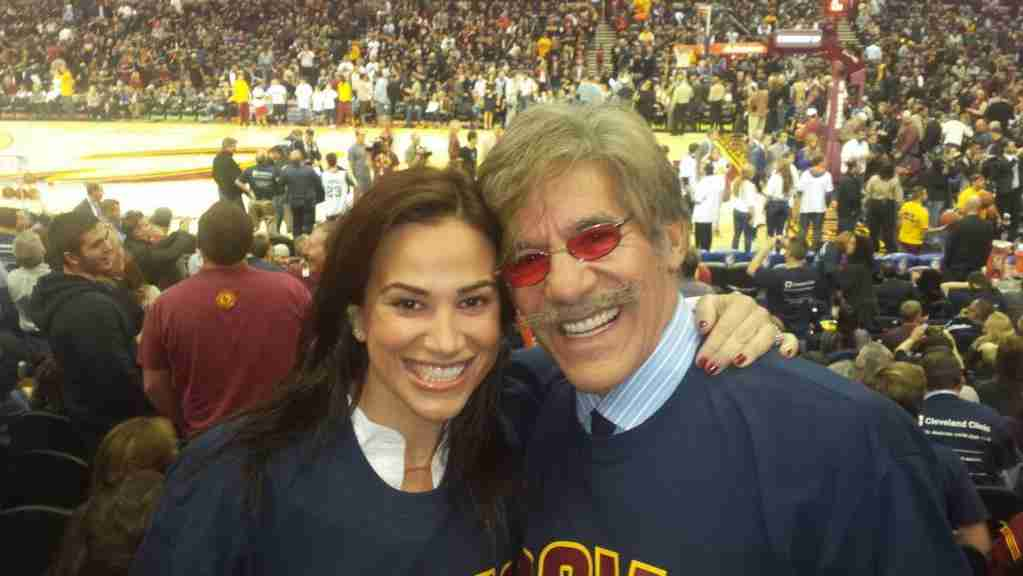 Geraldo with wife Erica as they watch the Cleveland Cavaliers take on the New York Knicks in Ohio.