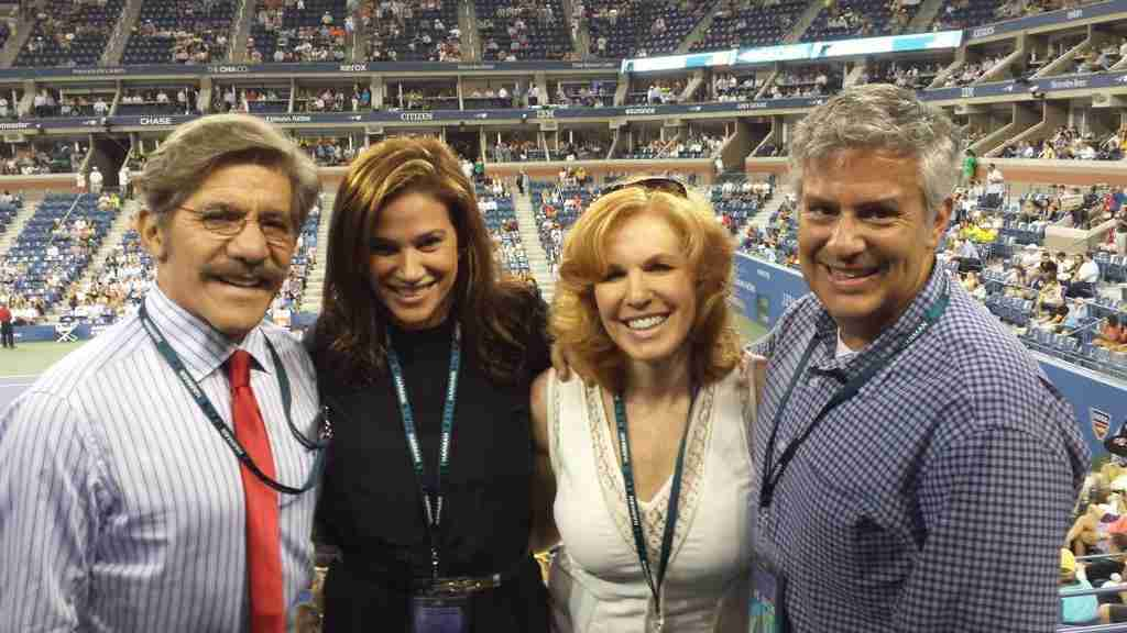 Geraldo and wife Erica at the game with Fox News host Liz Claman and Jeff.