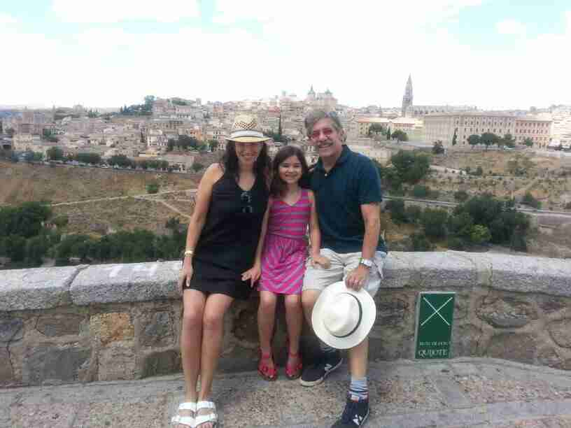 Geraldo, wife Erica and youngest daughter Sol take a moment overlooking Toledo.