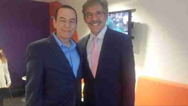Geraldo with fellow contestant Gilbert Gottfried during shooting for the Celebrity Apprentice in 2015.