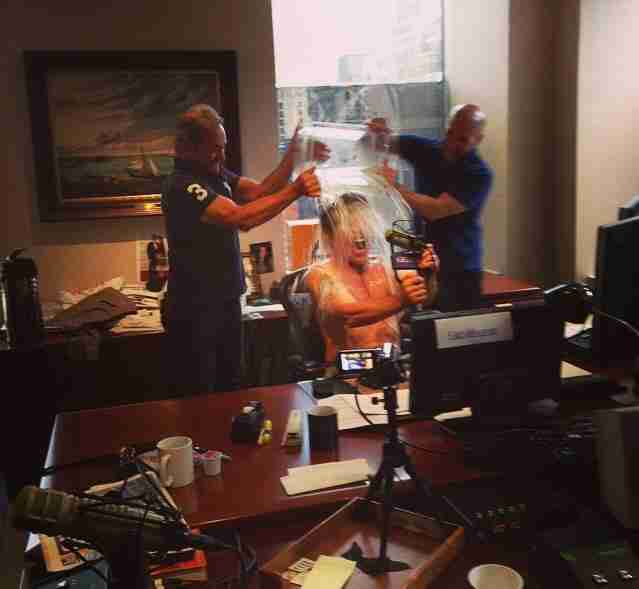 Geraldo participates in the Ice Bucket Challenge live on air during his WABC radio show, to spread awareness of ALS.