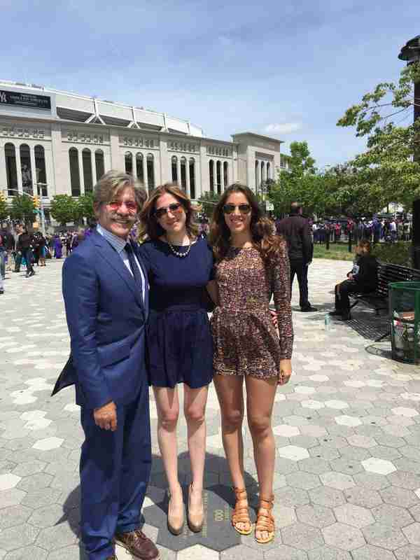 Geraldo with his daughters Isabella and Simone Rivera, in front of Yankee Stadium in New York.