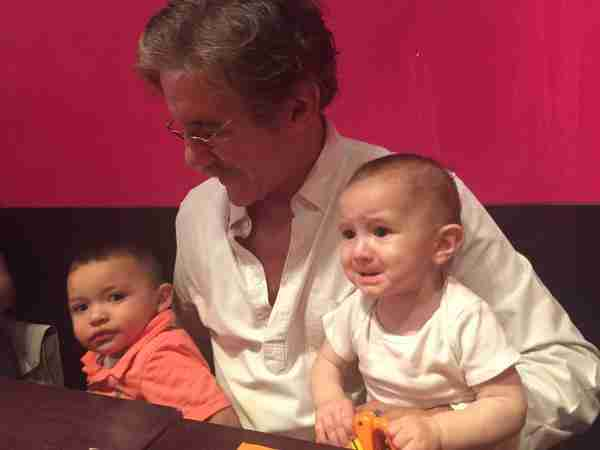 Geraldo gets ready for some Mexican food with grandsons Jace, left, and Desmond.