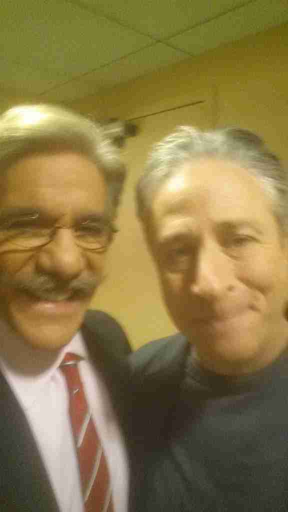 Geraldo says hello to The Daily Show host Jon Stewart in the green room at Fox News NYC, whilst waiting to appear on The O'Reilly Factor.