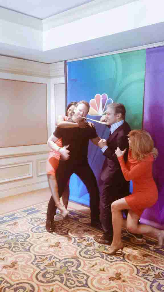 Kenya Moore, Ian Ziering, Geraldo Rivera and Leeza Gibbons during shooting for Celebrity Apprentice 2015.