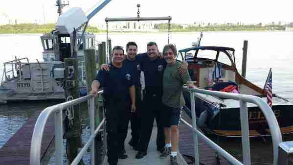 A Hudson River patrol unit stops by Geraldo's dock to say hello, June 2015.