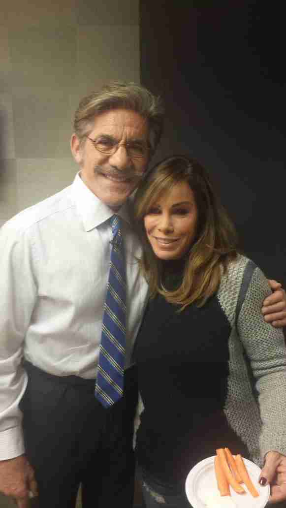 Geraldo with Melanie Rivers, daughter of Joan Rivers, during shooting for the Celebrity Apprentice in 2015.