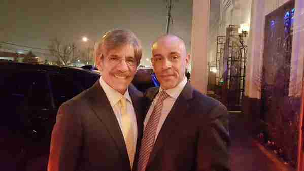 Geraldo on the West Side Highway with Detective Angel after rescuing wife Erica from a fender bender.