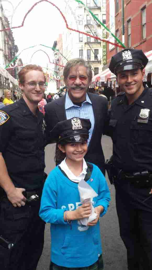 Geraldo with friend during the NYPD Feast Of San Gennaro.