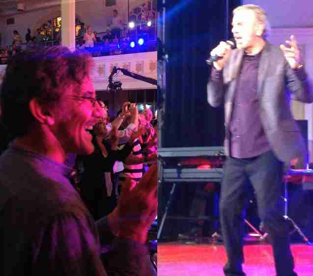 Geraldo enthusiastic at a Neil Diamond concert.