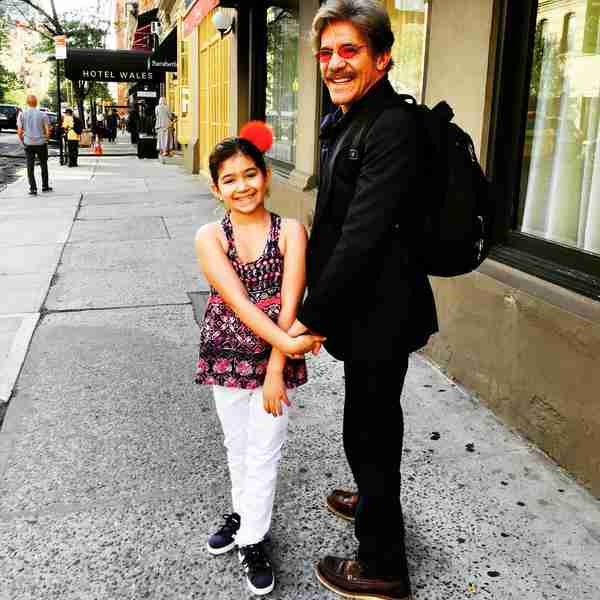 Geraldo and his youngest daughter Sol take a stroll to her school in Manhattan.