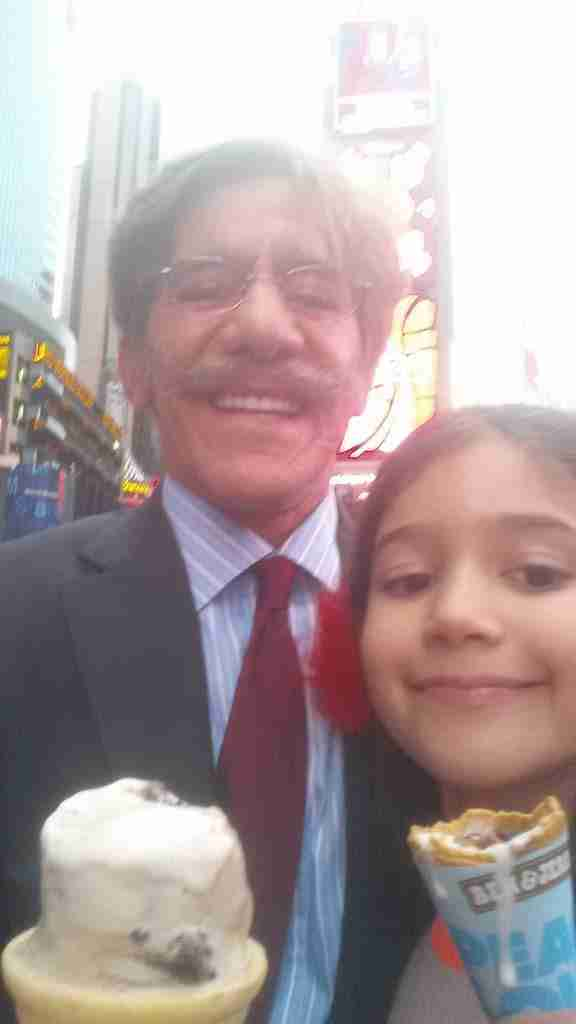 Geraldo with youngest daughter Sol, grabbing some ice cream in Times Square.