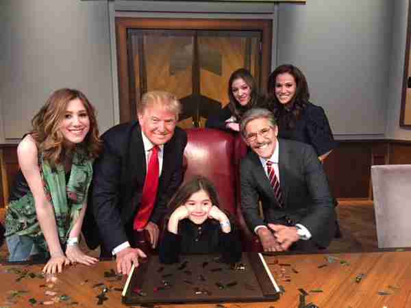 Geraldo and his family share a moment with Donald Trump during the finale of Celebrity Apprentice 2015.  From left; Isabella, Donald, Sol, Simone, Erica, Geraldo.