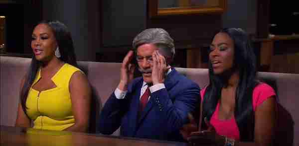 Geraldo is caught between Vivica Fox and Kenya Moore during a very tense boardroom on Celebrity Apprentice, 2015.