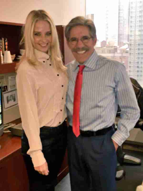 Geraldo interviews Genevieve Morton at his WABC radio studio in New York.