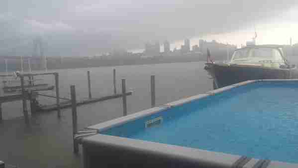 Raining on the Hudson river, view from Edgewater New Jersey.