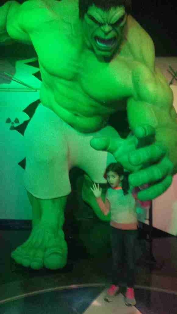 Youngest daughter Sol looks out for the mighty grip of the Hulk